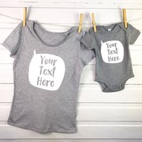 Personalised Speech Bubble Mother And Baby T Shirt Set
