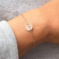 Personalised Letter Disc Bracelet, Silver/Rose Gold/Rose