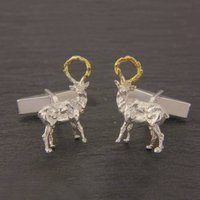 Sculpted Stag Cufflinks In Silver And Gold, Silver