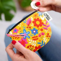 Coin Purse In Yellow Floral Print