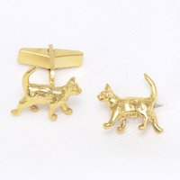 Cat Cufflinks 18 Ct Gold On Silver, Silver
