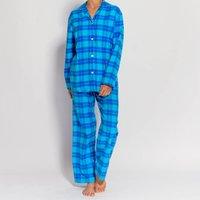 Womens Pyjamas In Aqua Tartan Flannel