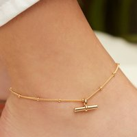 T Bar Anklet In Sterling Silver Or Gold Vermeil, Silver