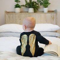 Angel Baby Sleepsuit, Black/Gold/White