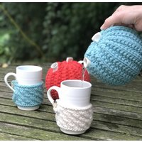 Handmade Cosy Teapot, Turquoise/Cocoa Brown/Cocoa