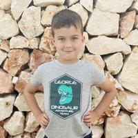Personalised Dinosaur Adventure Team Kids T Shirt