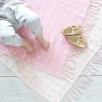 Lambswool Spot Baby Blankets, Pink/Blue