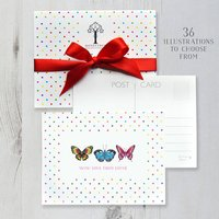 Personalised Postcards With Coloured Polka Dots, Black/Charcoal/Grey