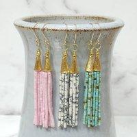 Marble Bead Tassel Earrings