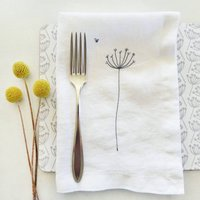 Embroidered Cow Parsley Linen Napkins, Grey/Linen/Red