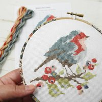 Robin And Berry Cross Stitch Wall Hanging Kit