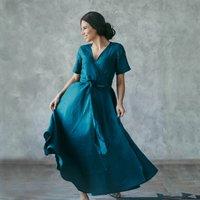 Full Length Linen Wrap Dress