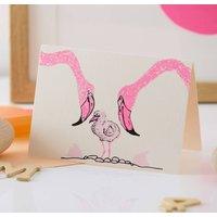 Flamingo Hand Screen Printed New Baby Card
