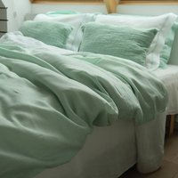 Bed Linen Set With Piping, Mint/White