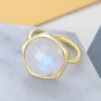Moonstone Gold Semi Precious Birthstone Ring, Gold
