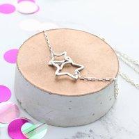 Infinity Interlocking Silver Stars Necklace, Silver