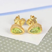 Peridot Birthstone Teardrop Gold Stud Earrings, Gold