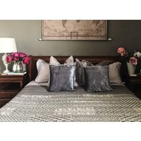 Kantha Quilted Bedspread, Grey And Cream, Boho Pattern