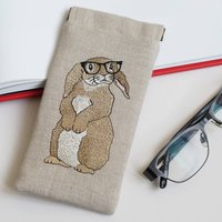 Embroidered Rabbit Glasses Case