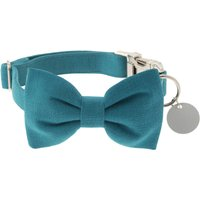 Peacock Blue Bow Tie Dog Collar