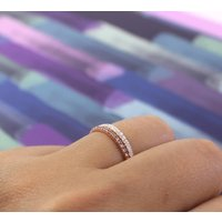 Sterling Silver Crystal Stacking Ring, Silver