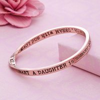 Daughter... Message Bangle Rose Gold Plated, Gold