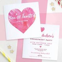Personalised Watercolour Heart Invitations, Light Blue/Blue/Purple