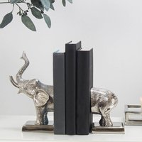 Nickel Plated Elephant Bookends