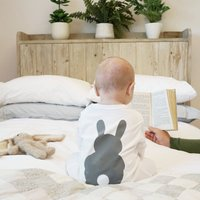 Bunny Rabbit Baby Sleepsuit, White/Grey