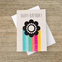 'Happy Birthday' Rainbow Flower Greetings Card