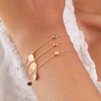 Personalised 18k Gold Plated Birthstone Chain Bracelet, Gold