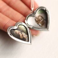 Silver Heart Personalised Locket With Photos, Silver