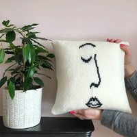 Knitted Sketch Face Cushion