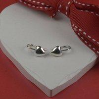 Small Drop Heart Sterling Silver Earrings, Silver