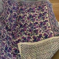 Indigo Flowers Kantha Bedspread