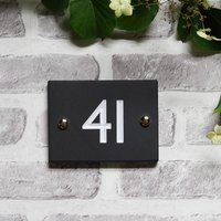 British Slate Classic House Number, Three Sizes, Green/White/Silver