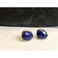 Lapis Lazuli Silver Stud Earrings, Silver