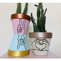 Hand Gesture Hand Painted Plant Pot