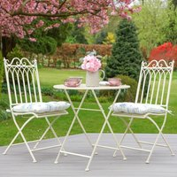 Two Person Vintage Cream Garden Bistro Set