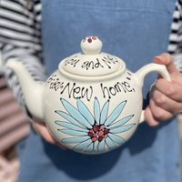 Personalised Hand Painted Dahlia Flower Teapot