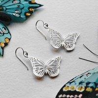 Sterling Silver Small Monarch Butterfly Earrings, Silver