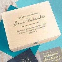 Personalised Baby Boys Christening Keepsake Box
