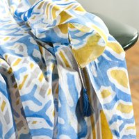 Electric Blue Abstract Print Scarf