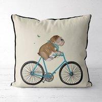 English Bulldog On Bicycle Decorative Cushion