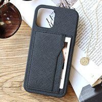 Black Vegan Leather iPhone Case And Cardholder