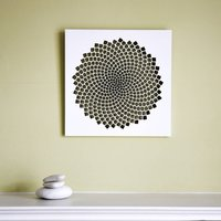 Fibonacci Spiral Wall Art, White/Marigold/Orange