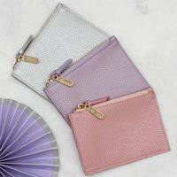 Personalised Luxury Leather Purse With Keyring, Navy/Mulberry/Mint Green