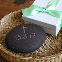 Personalised Christening Gift Pebble, Plum/Grey/White