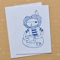 Pirate Lion Writing Drawing Hello Screenprinted Card