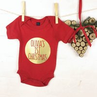 My First Christmas Personalised Red And Gold Babygrow